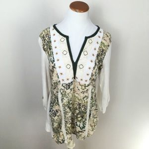 Anthro Tiny Henley Embroidered Tunic Top Blouse